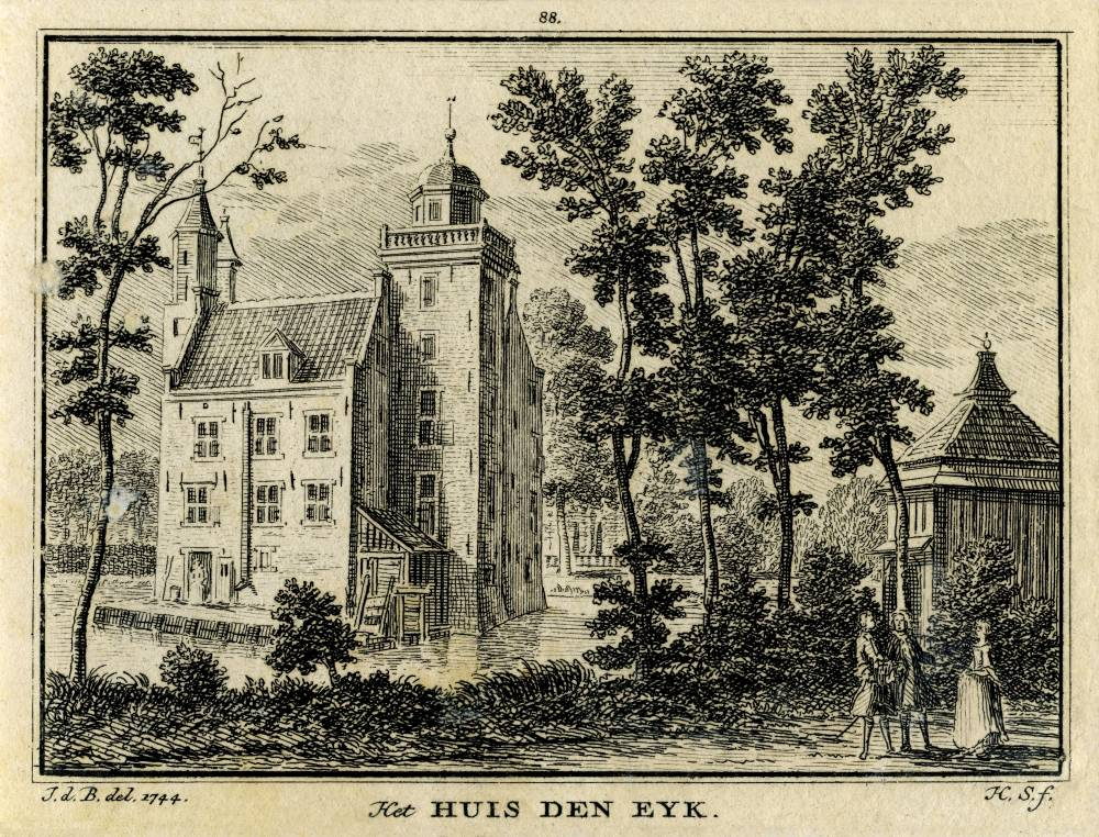 Huis Den Eyck in Vleuten. Tekening Jan de Beijer, gravure Hendrik Spilman (Uit: Het Verheerlykt Nederland, Isaac Tirion, 1745/1774)